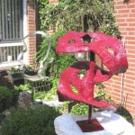 'Sculptuur Abstract' materiaal gips verhard rood 11.